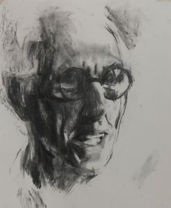 Peter Geerts - 2015 Portret van een man | Portrait from a man | houtskool/charcoal/paper