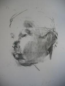 Peter Geerts - 2012 Studie van een meisje | Study from a girl | houtskool/charcoal Private collection