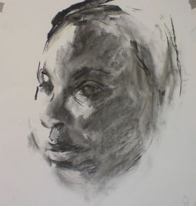 Peter Geerts - 2012 Studie van een jongen | Study from a boy | houtskool/charcoal