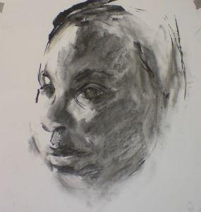 Peter Geerts - 2012 Studie van een jongen | Study from a boy | houtskool/charcoal Private collection