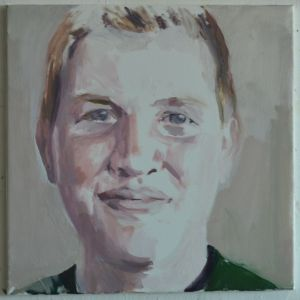 Peter Geerts - 2015 Portret van een jonge man | Portrait from a young man |  oil/canvas