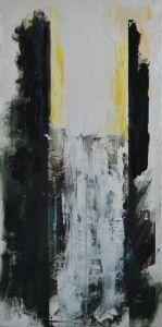 Peter Geerts - [i]Het licht van de geketende onschuld bedreigd door de schaduw van het kwaad III[/i] Project Kunst van zolder, Dominicanenklooster, Zwolle 2016 150 x 75 cm oil/paper/canvas