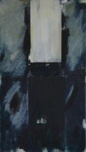Peter Geerts - [i]Het licht van de geketende onschuld bedreigd door de schaduw van het kwaad I[/i] Project Kunst van zolder, Dominicanenklooster, Zwolle 2016 160 x 90 cm oil/canvas