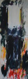 Peter Geerts - [i]Het licht van de geketende onschuld bedreigd door de schaduw van het kwaad IV[/i] Project Kunst van zolder, Dominicanenklooster, Zwolle 2016 215 x 80 cm oil/canvas